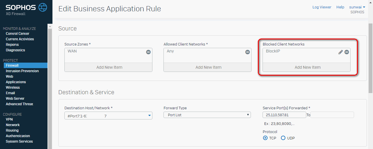 How to block WAN IP address - Network and Routing - XG Firewall
