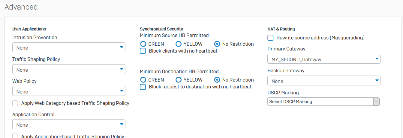 Routing to another gateway on the same LAN Subnet as Sophos