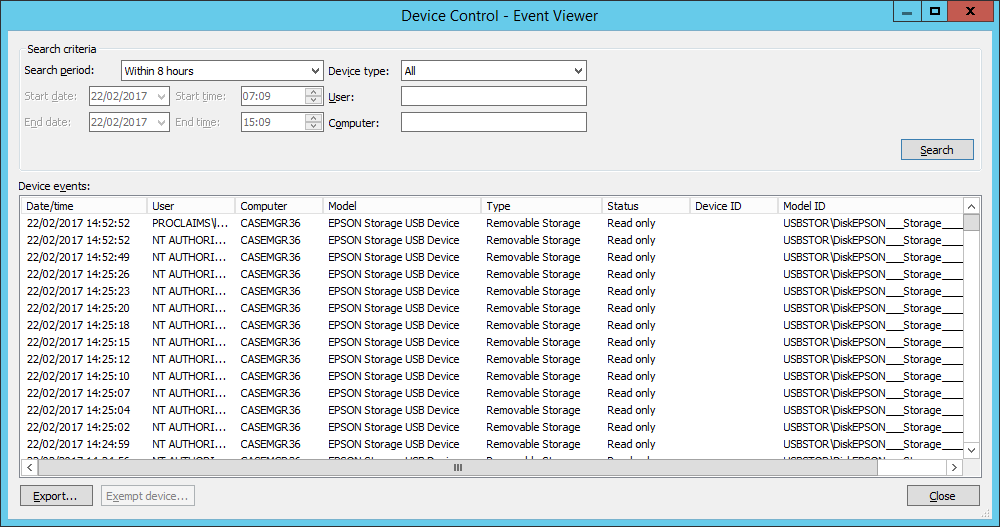 PC reporting thousands of repeated device control events - Sophos