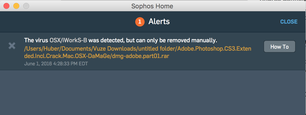 Sophos is unable to remove OSX/iworkS-B  - Sophos Anti-Virus for Mac