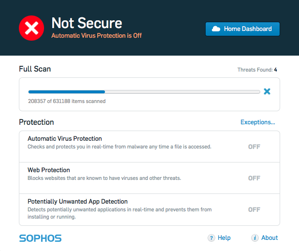 Stopped Scan and Not Secure - Sophos Anti-Virus for Mac Home