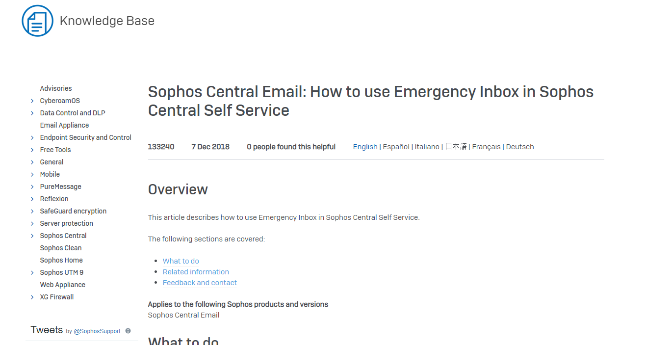 Latest KB's] Sophos Central Email: How to use Emergency