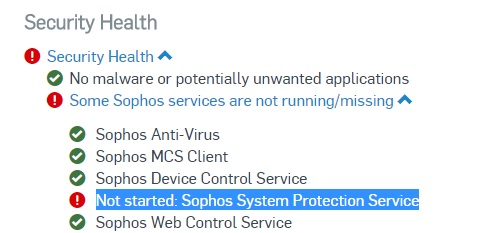 Sophos System Protection Service not started - Sophos Email