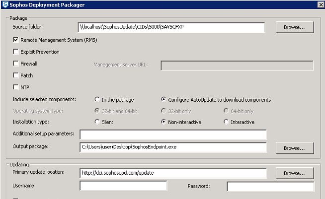 Sophos cannot configure updating