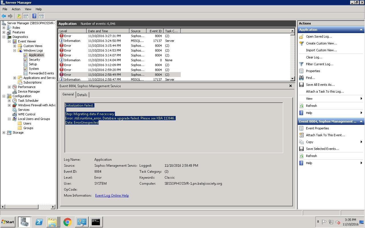 Sophos Management Service Not Starting - Upgrade DB Error - DBNETLIB