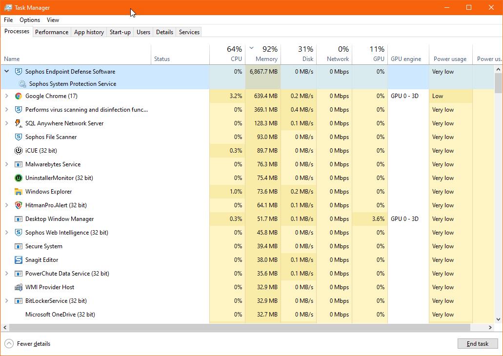 Possible Memory Problem after Windows 10 1903 Update - Sophos