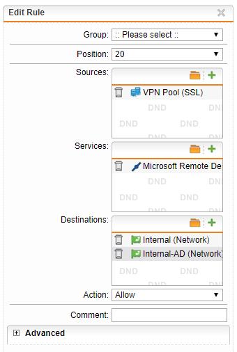 RDP does not work over SSL VPN - General Discussion - Sophos UTM 9