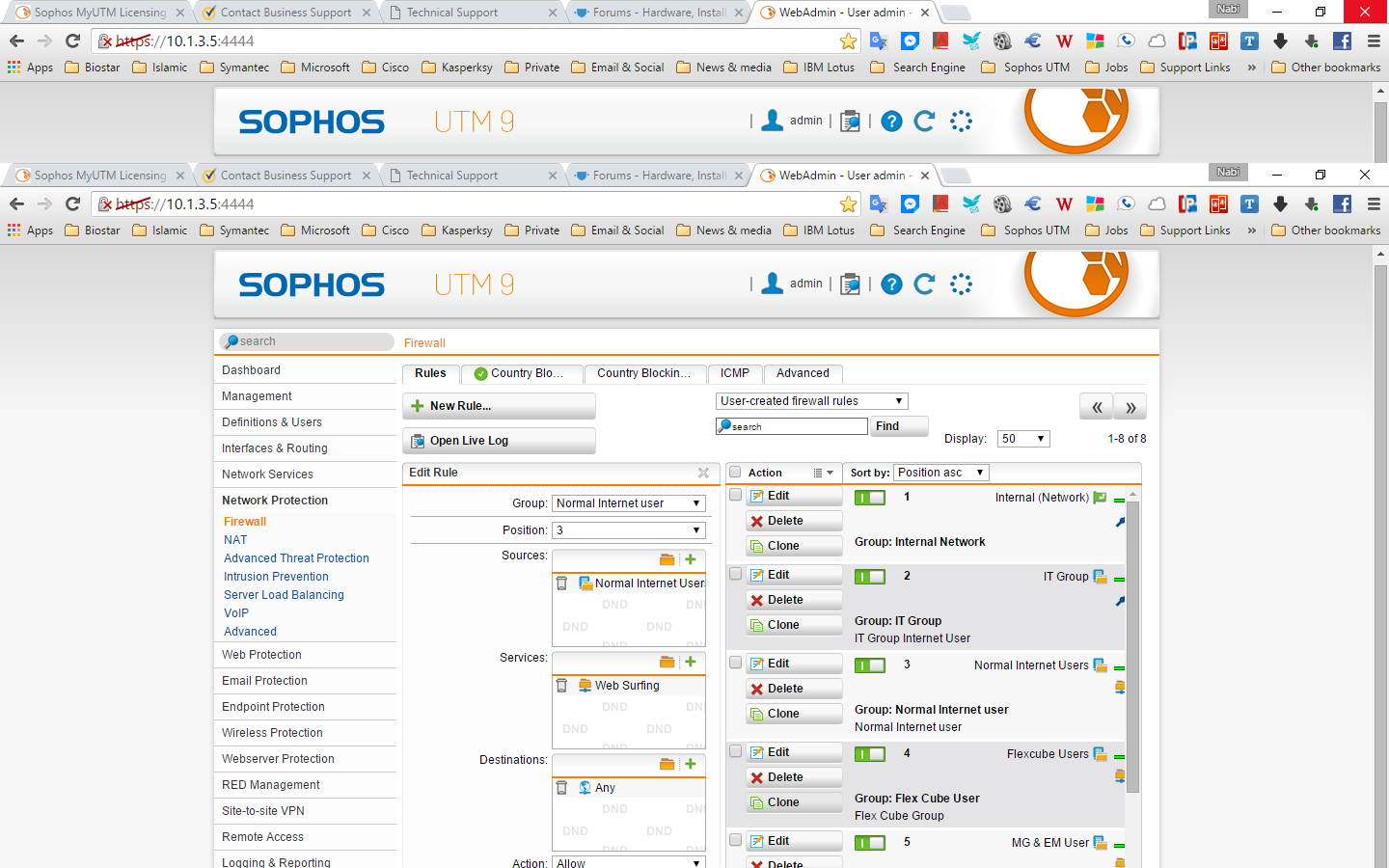 users cannot connect to the database through Sophos policy
