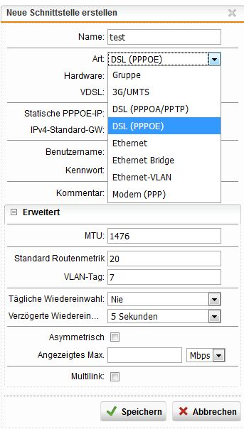 Support for PPPoE on Ethernet interface with VLAN tagging