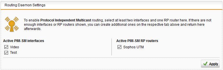 Multicast forwarding on UTM - Management, Networking