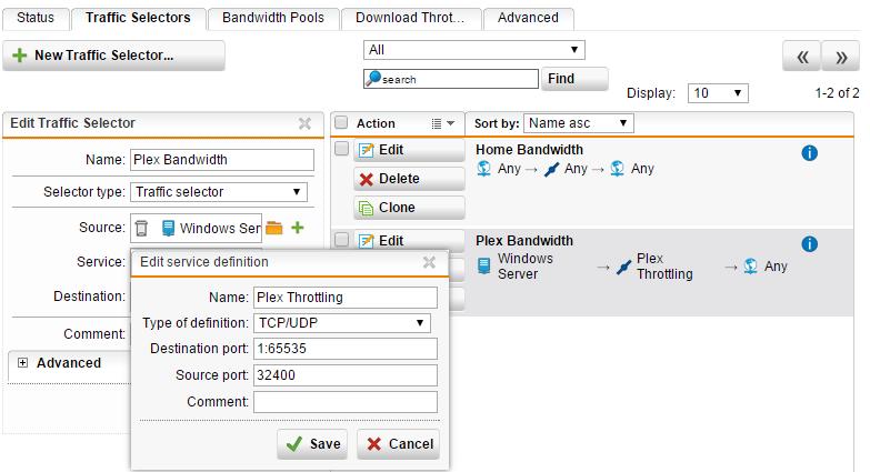 How to QoS limit upload bandwidth to external plex clients