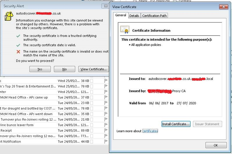 Office 365 Certificate errors - Suppliers blaming my web filtering ...