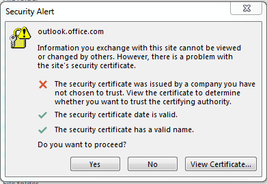 Security Alert on Outlook with Office 365 email - Web