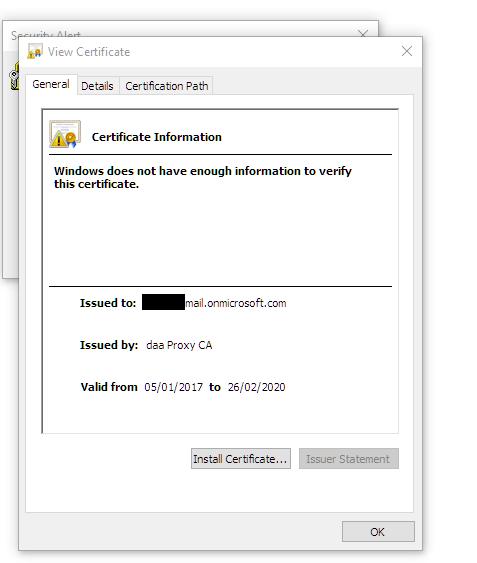 UTM9 vs Autodiscover - strange certificate popup - Web Protection