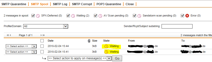 Mails stuck in SMTP-spool, if forwarded via smarthost over a certain