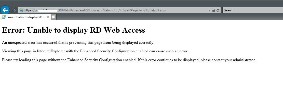 RD Web Portal not working trough UTM9 - Web Server Security