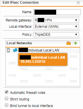 Site-to-Site VPN, UTM to SonicWall, Connection made but no traffic