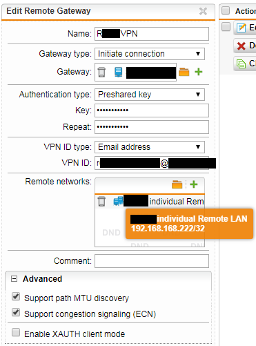Site-to-Site VPN, UTM to SonicWall, Connection made but no