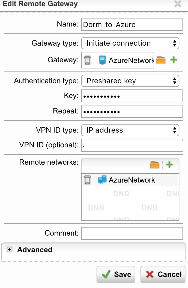 UTM Azure Site to Site VPN not working, connection is made but no