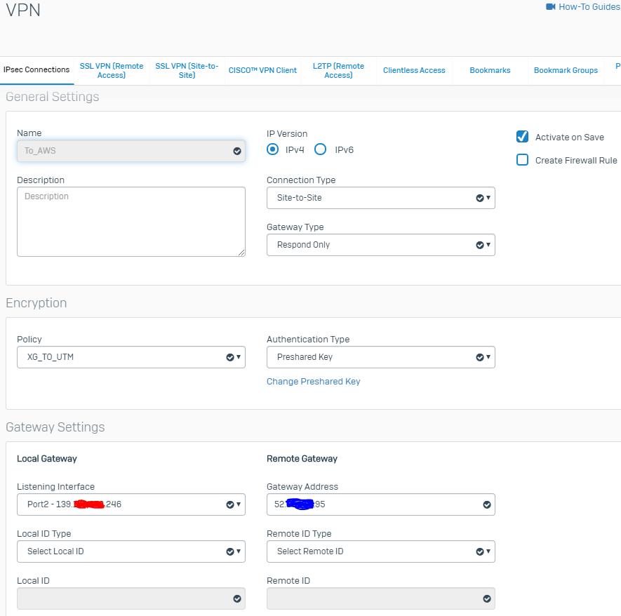 UTM 9 in AWS to XG85 on prem - IPSEC S2S VPN issues - VPN