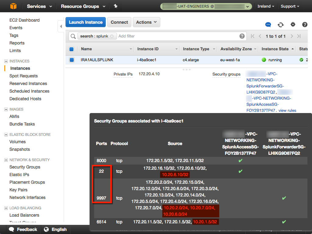AWS VPC Site-to-Site VPN - Splunk Forwarder Traffic on TCP 9997