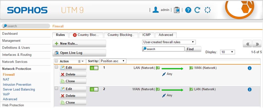 Routing between two networks in Sophos home UTM 9 3