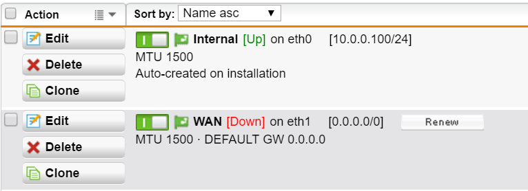 UTM 9- WAN interface will not change from [Down] to [up
