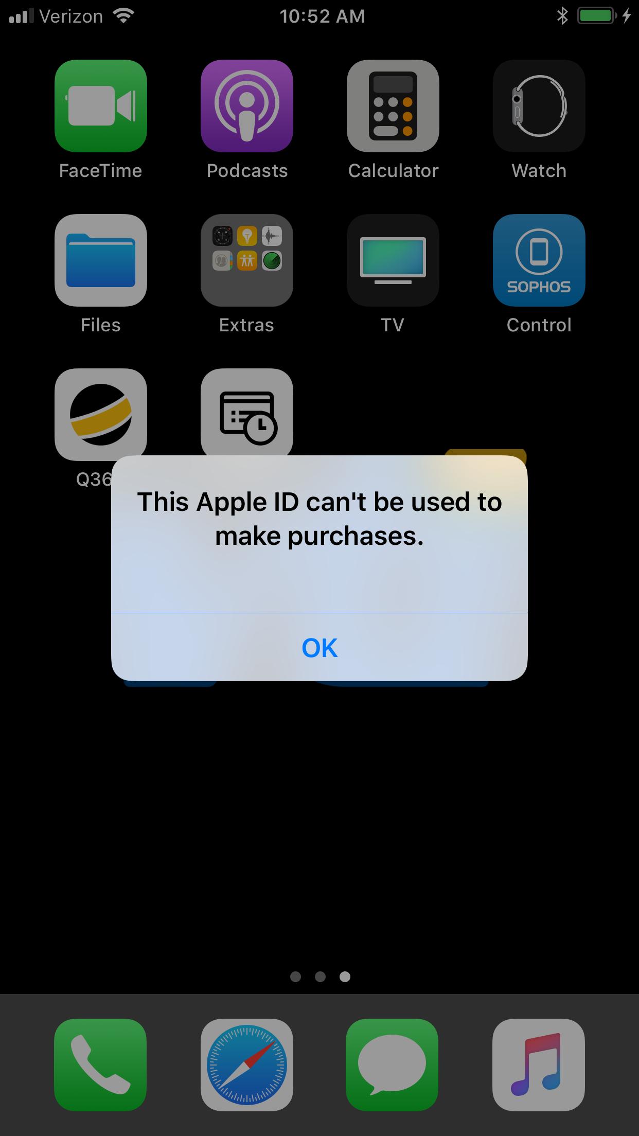 Apple ID Error - Sophos Mobile Control - Mobile - Sophos