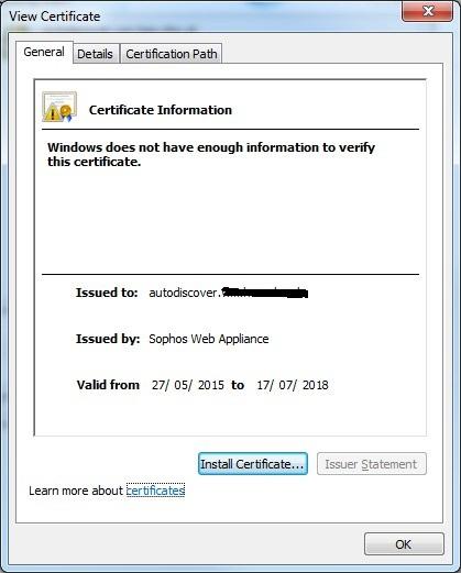 Certificate Error in Outlook 2010 - Web Appliance (Hardware or ...