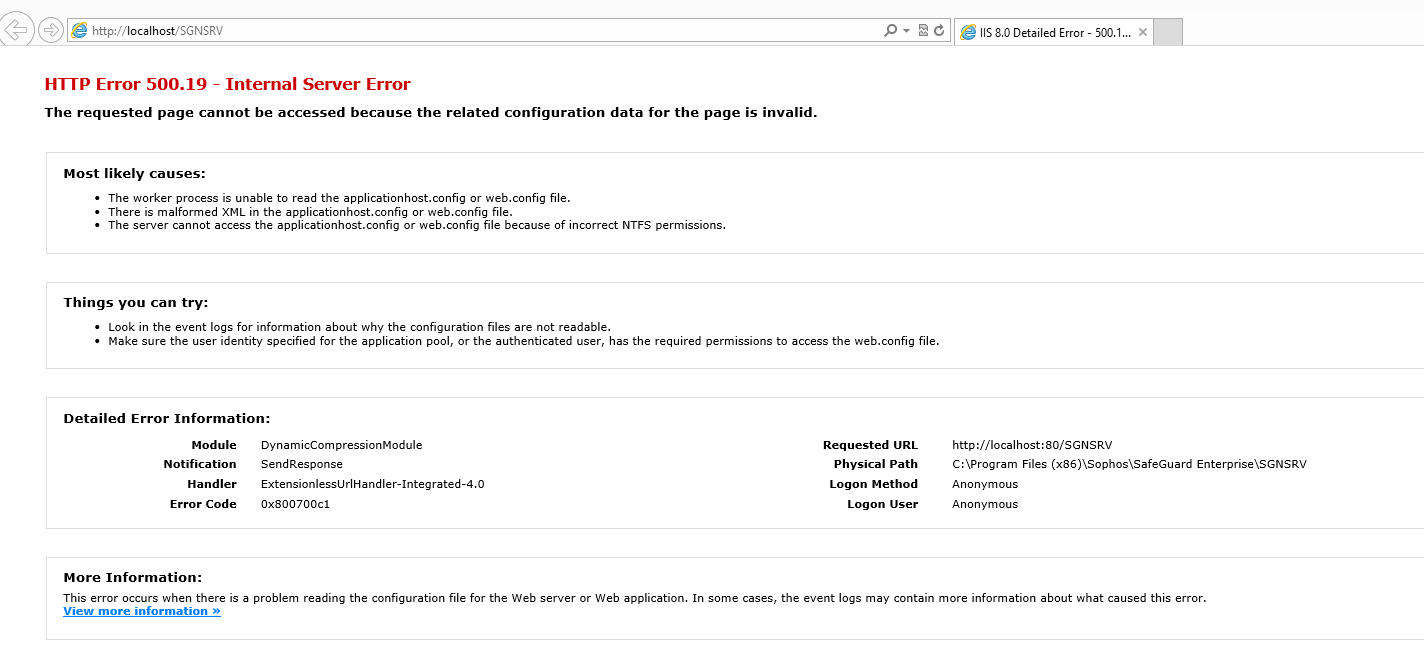 IIS8 suddenly giving HTTP Error 500 19 - Internal Server