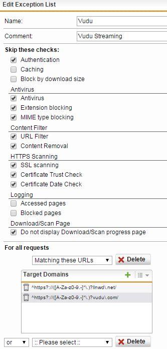 Vudu Apps on Sophos UTM - Web Protection: Web Filtering