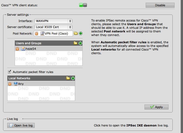 Ipsec cisco vpn client under mac - VPN: Site to Site and