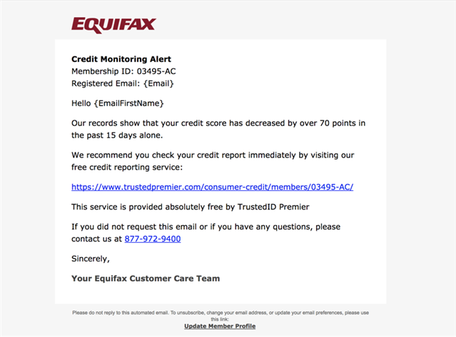 Equifax Credit Monitoring Alert Template Now Available In